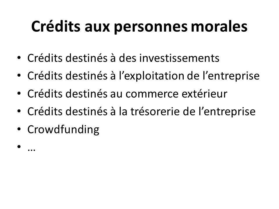 Crédits aux personnes morales Crédits destinés à des investissements Crédits destinés à lexploitation de lentreprise Crédits destinés au commerce extérieur Crédits destinés à la trésorerie de lentreprise Crowdfunding …