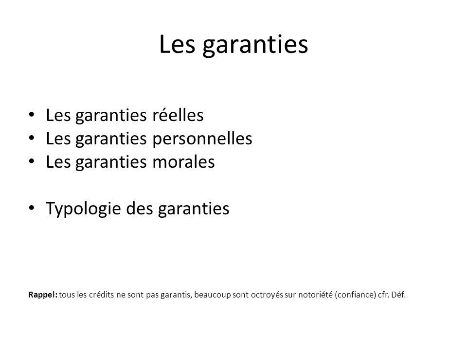 Les garanties Les garanties réelles Les garanties personnelles Les garanties morales Typologie des garanties Rappel: tous les crédits ne sont pas garantis, beaucoup sont octroyés sur notoriété (confiance) cfr.