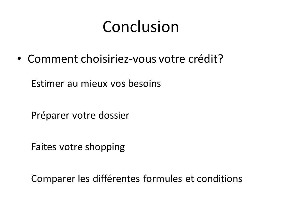 Conclusion Comment choisiriez-vous votre crédit? Estimer au mieux vos besoins Préparer votre dossier Faites votre shopping Comparer les différentes fo