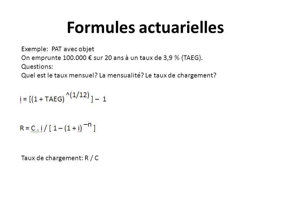 Formules actuarielles Exemple: PAT avec objet On emprunte 100.000 sur 20 ans à un taux de 3,9 % (TAEG). Questions: Quel est le taux mensuel? La mensua