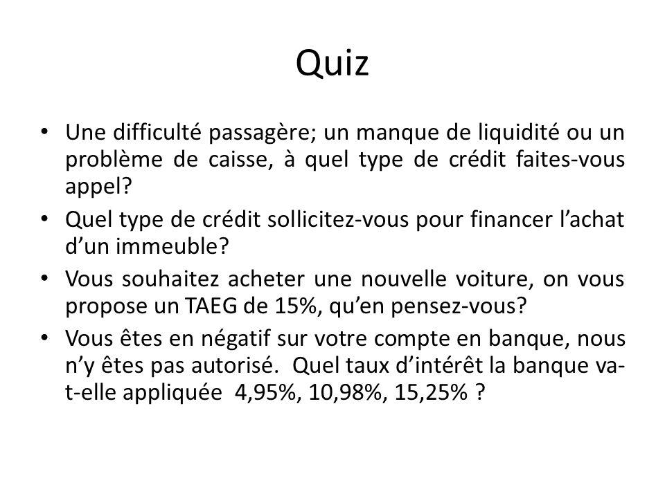 Quiz Une difficulté passagère; un manque de liquidité ou un problème de caisse, à quel type de crédit faites-vous appel? Quel type de crédit sollicite