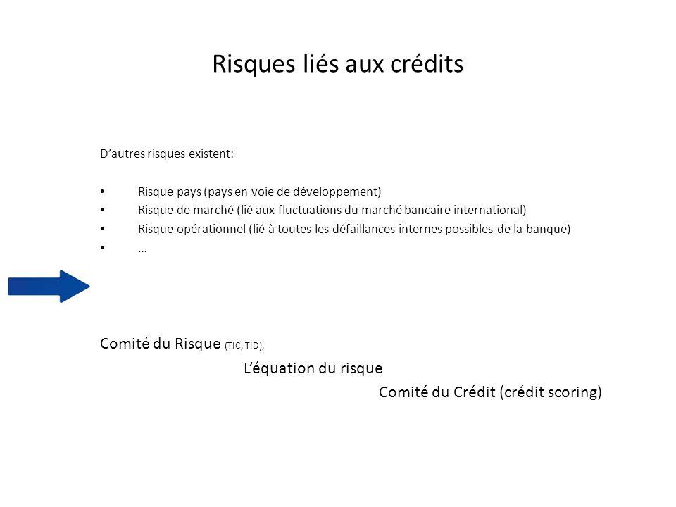 Risques liés aux crédits Dautres risques existent: Risque pays (pays en voie de développement) Risque de marché (lié aux fluctuations du marché bancai