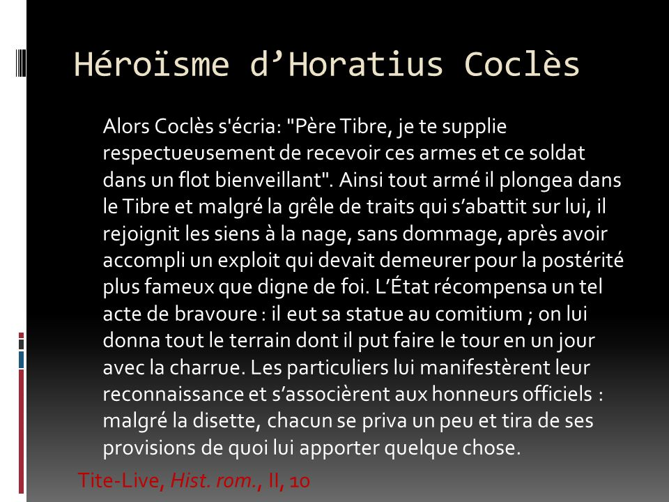 Héroïsme dHoratius Coclès Alors Coclès s'écria: