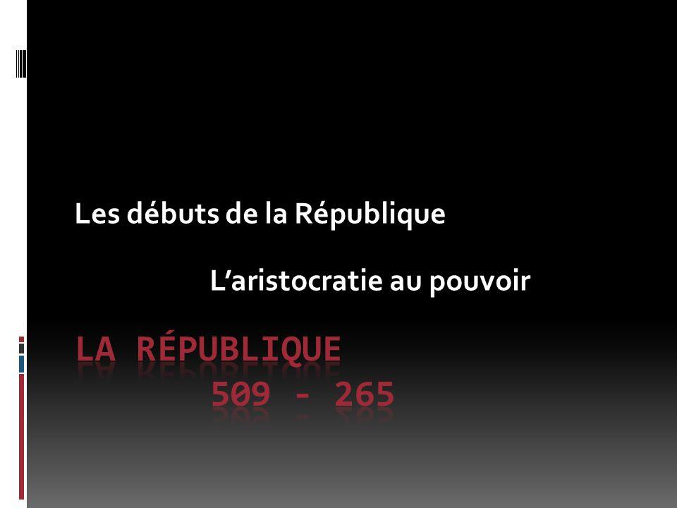 Les débuts de la République Laristocratie au pouvoir