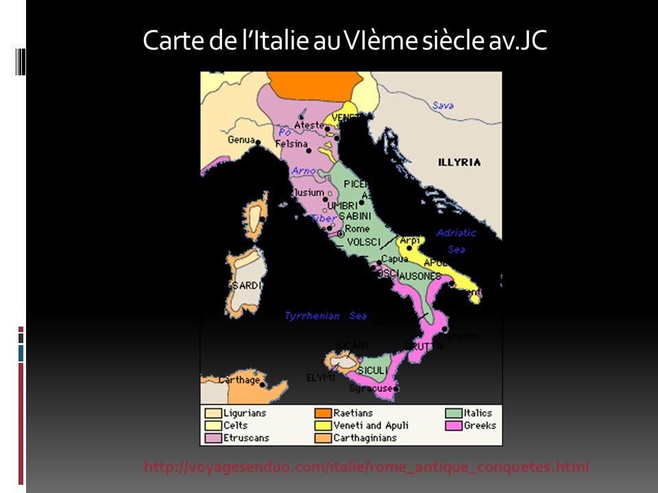 Carte de lItalie au VIème siècle av.JC http://voyagesenduo.com/italie/rome_antique_conquetes.html