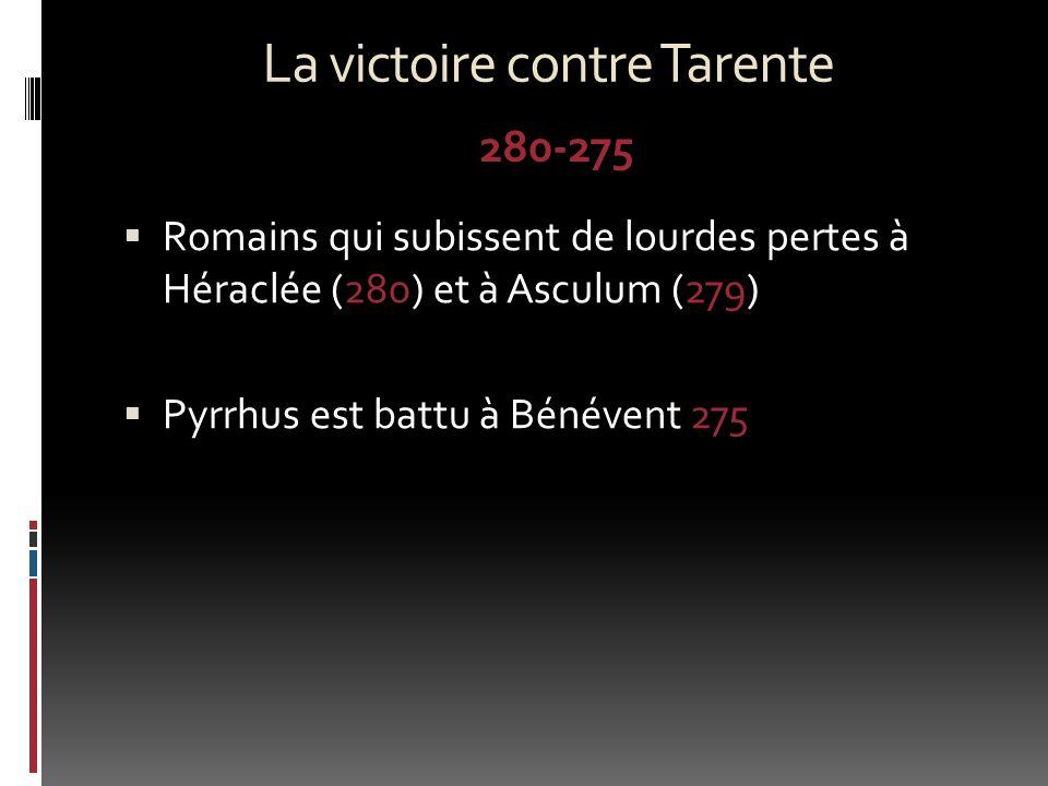 La victoire contre Tarente Romains qui subissent de lourdes pertes à Héraclée (280) et à Asculum (279) Pyrrhus est battu à Bénévent 275 280-275