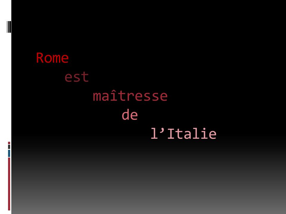 Rome est maîtresse de lItalie