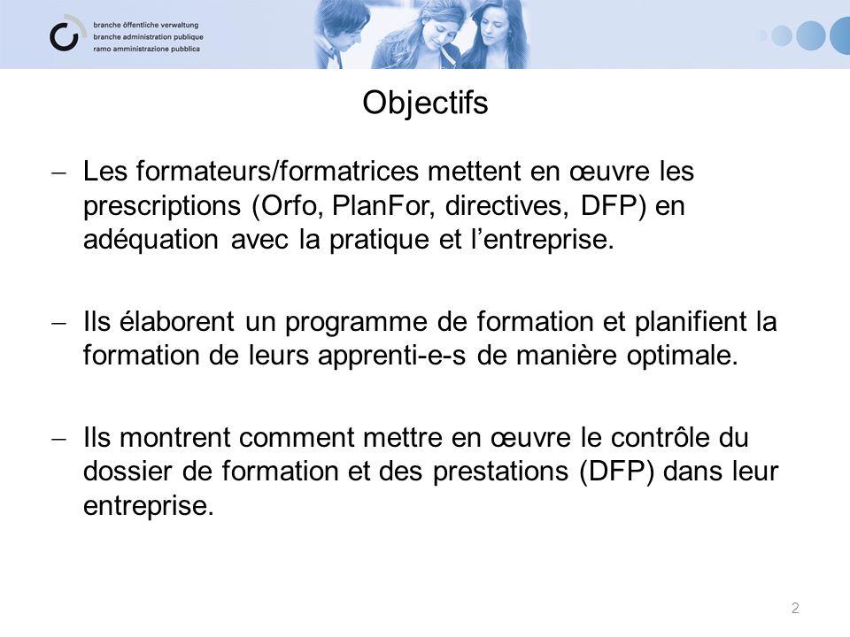 Objectifs Les formateurs/formatrices mettent en œuvre les prescriptions (Orfo, PlanFor, directives, DFP) en adéquation avec la pratique et lentreprise