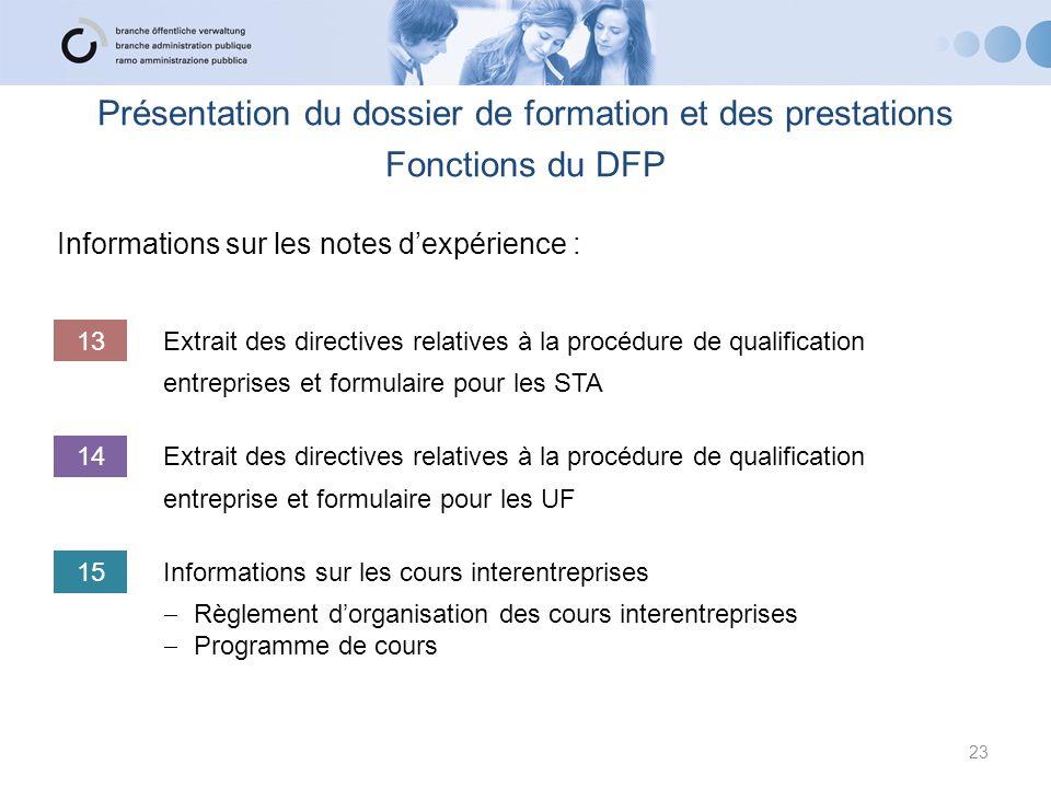 Informations sur les notes dexpérience : 23 Présentation du dossier de formation et des prestations Fonctions du DFP 13Extrait des directives relative