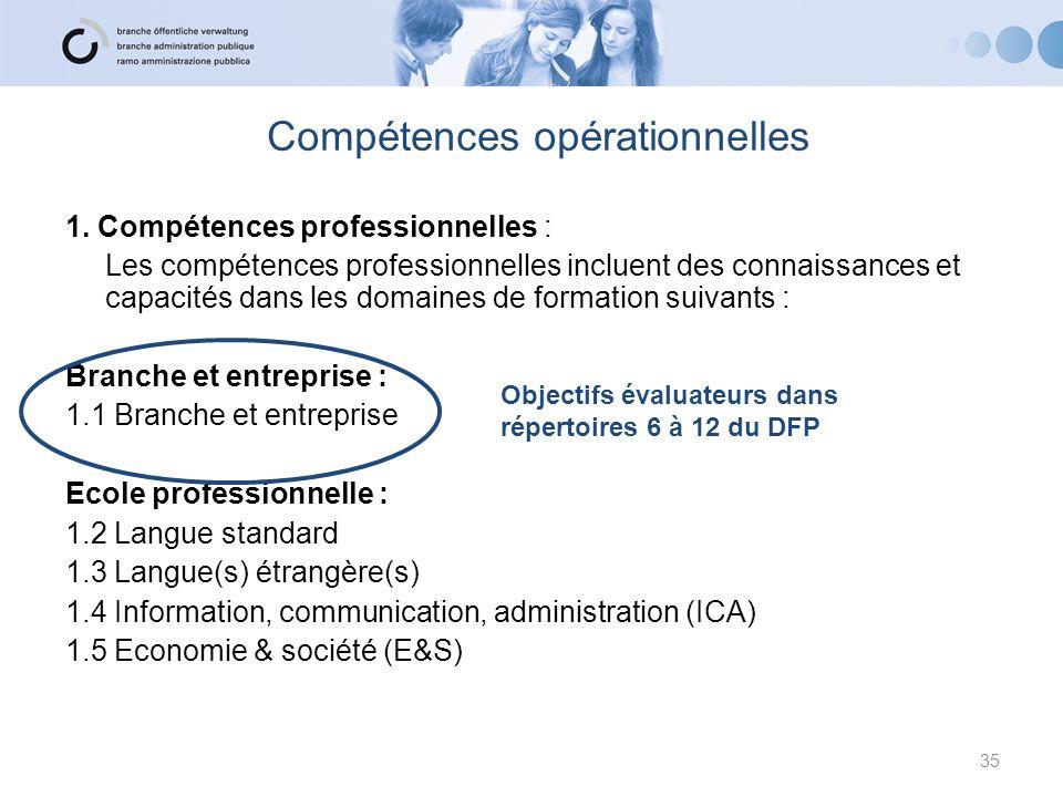 Compétences opérationnelles 1. Compétences professionnelles : Les compétences professionnelles incluent des connaissances et capacités dans les domain