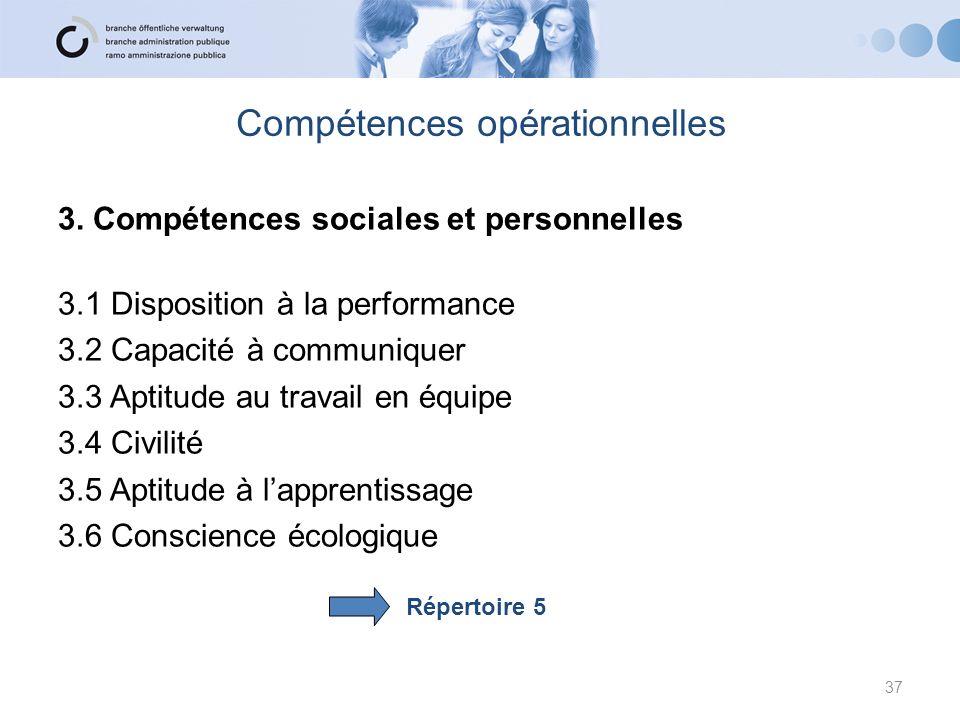 Compétences opérationnelles 3. Compétences sociales et personnelles 3.1 Disposition à la performance 3.2 Capacité à communiquer 3.3 Aptitude au travai