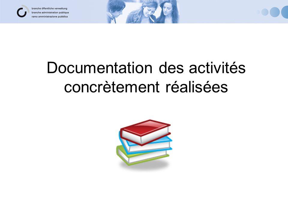 Documentation des activités concrètement réalisées