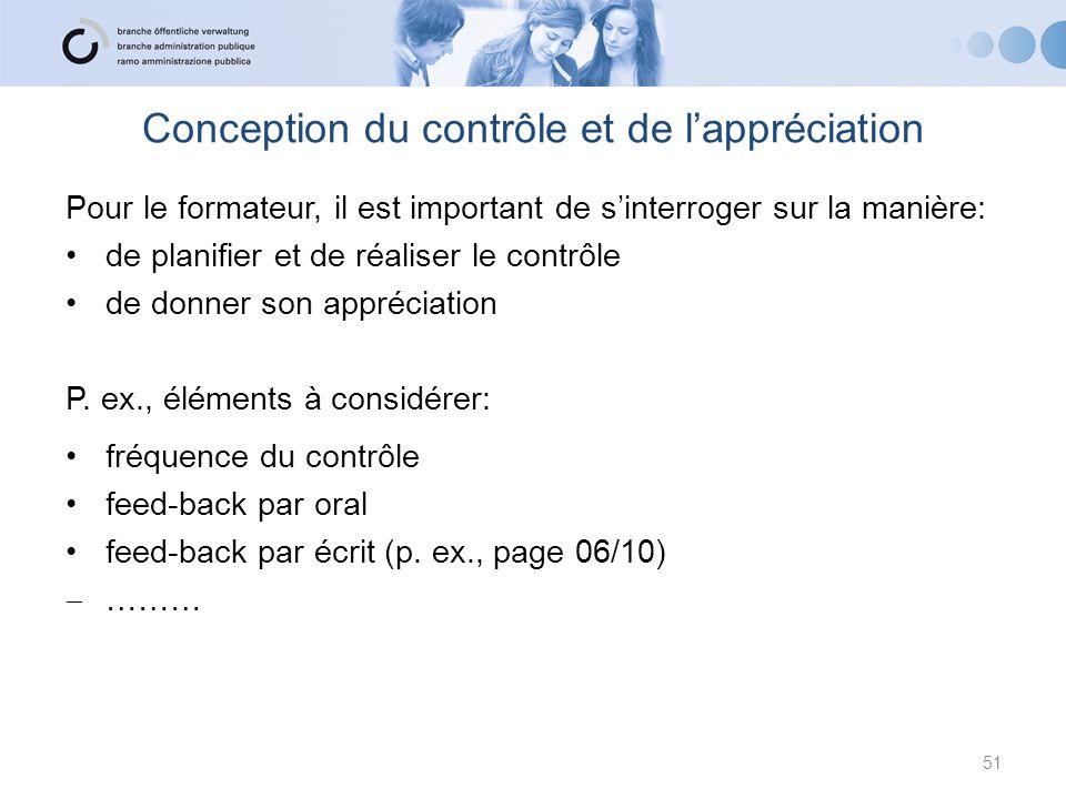 Conception du contrôle et de lappréciation 51 Pour le formateur, il est important de sinterroger sur la manière: de planifier et de réaliser le contrô