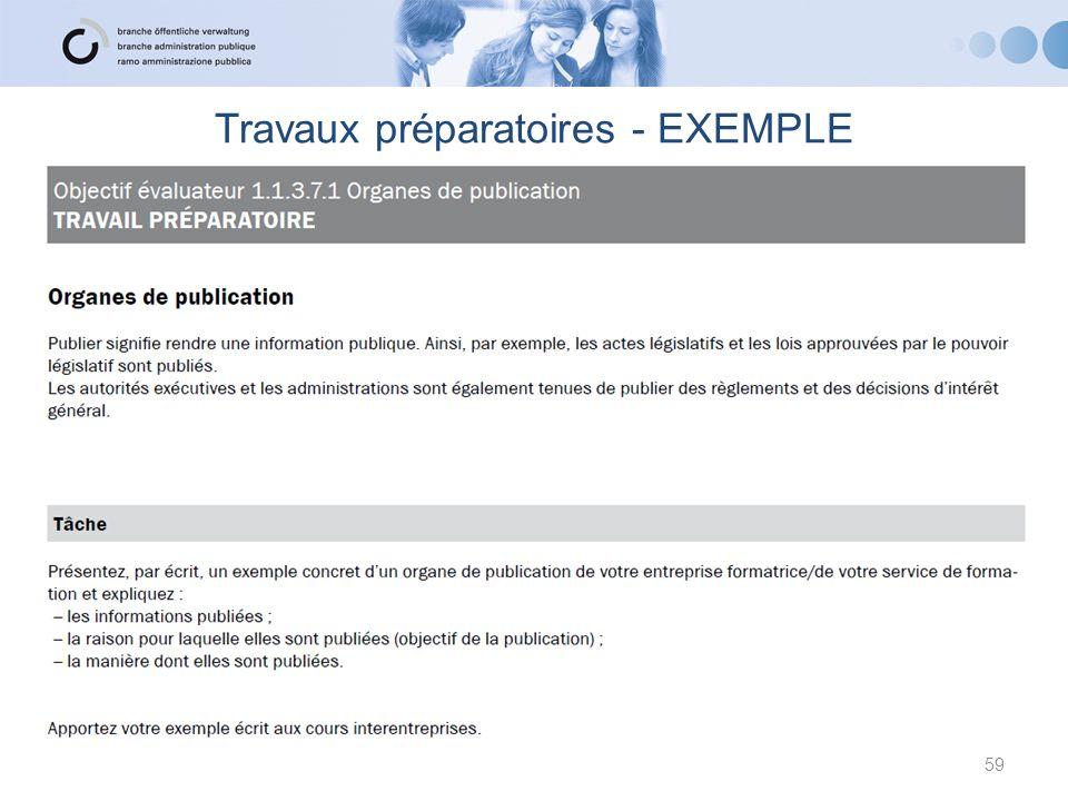 Travaux préparatoires - EXEMPLE 59