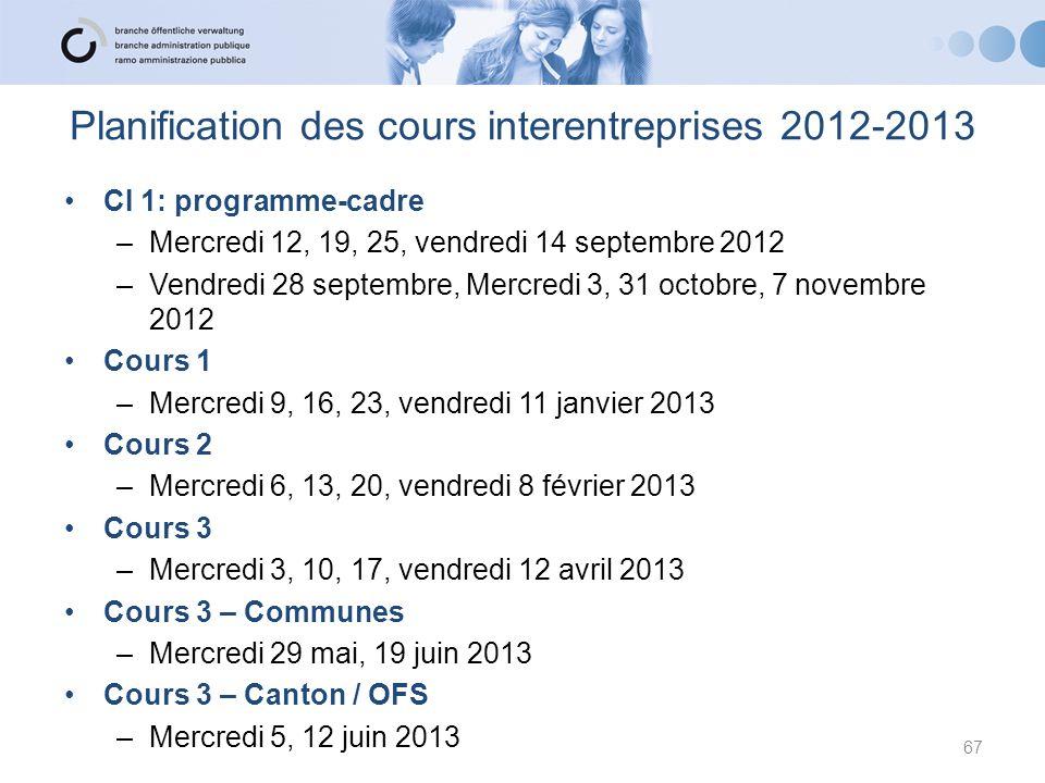 67 CI 1: programme-cadre –Mercredi 12, 19, 25, vendredi 14 septembre 2012 –Vendredi 28 septembre, Mercredi 3, 31 octobre, 7 novembre 2012 Cours 1 –Mer
