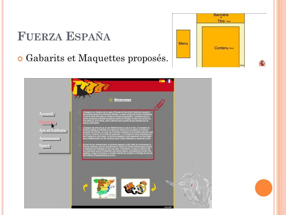 F UERZA E SPAÑA Gabarits et Maquettes proposés.