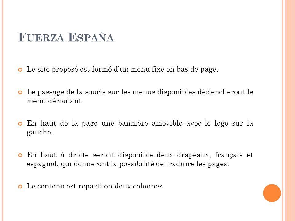 F UERZA E SPAÑA Le site proposé est formé dun menu fixe en bas de page.