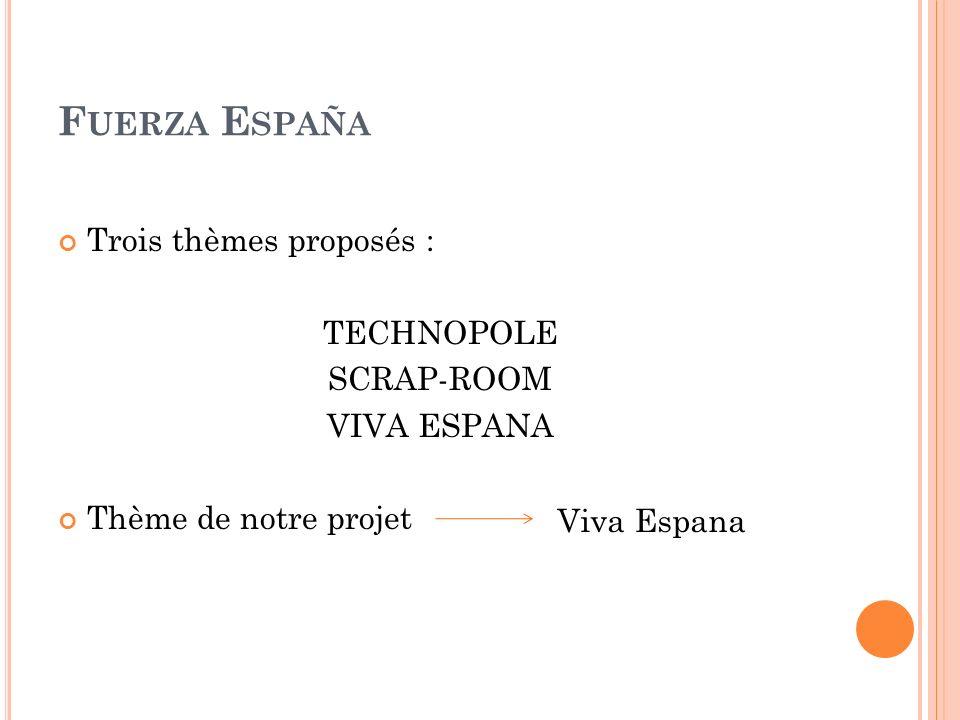 F UERZA E SPAÑA Trois thèmes proposés : TECHNOPOLE SCRAP-ROOM VIVA ESPANA Thème de notre projet Viva Espana