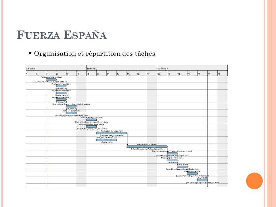 F UERZA E SPAÑA Organisation et répartition des tâches
