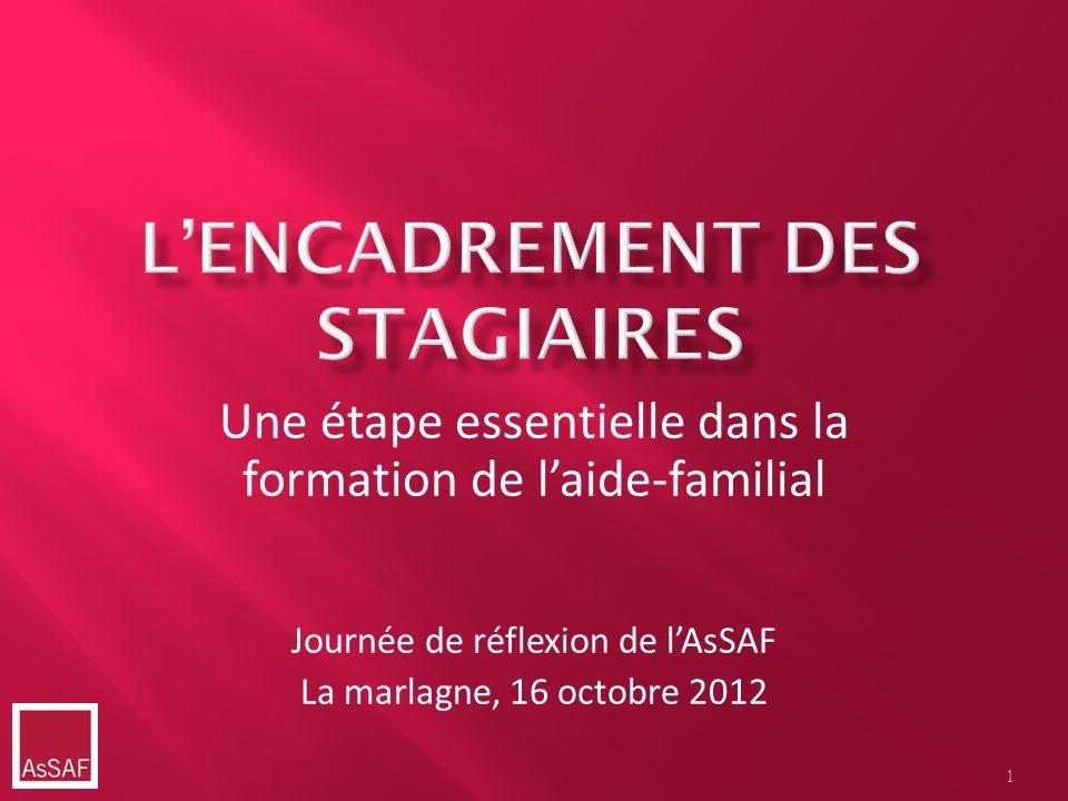 1 Une étape essentielle dans la formation de laide-familial Journée de réflexion de lAsSAF La marlagne, 16 octobre 2012