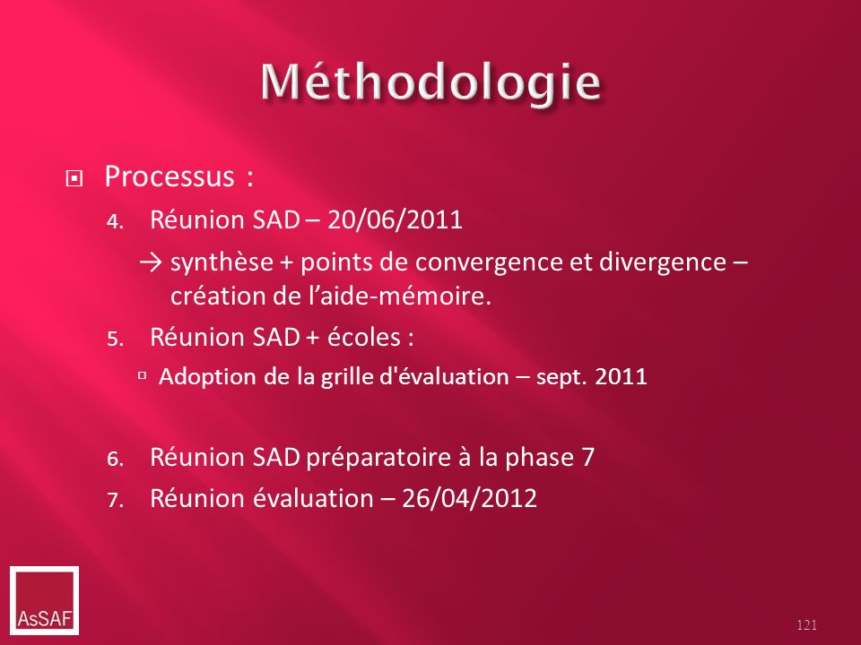 Processus : 4. Réunion SAD – 20/06/2011 synthèse + points de convergence et divergence – création de laide-mémoire. 5. Réunion SAD + écoles : Adoption