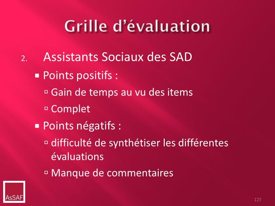 2. Assistants Sociaux des SAD Points positifs : Gain de temps au vu des items Complet Points négatifs : difficulté de synthétiser les différentes éval