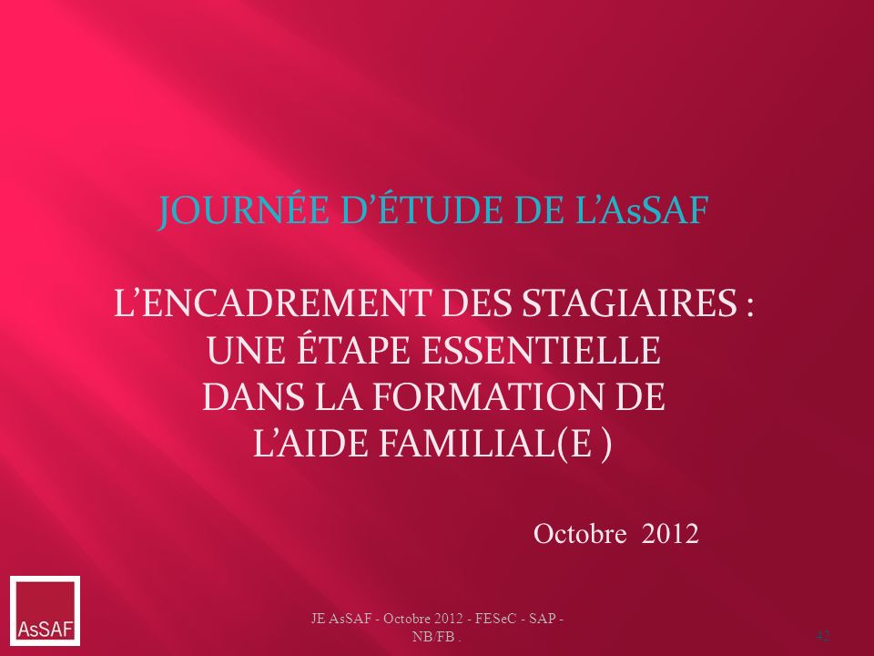 JE AsSAF - Octobre 2012 - FESeC - SAP - NB/FB.