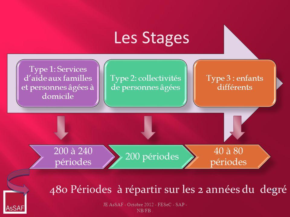 46 Les Stages Type 1: Services daide aux familles et personnes âgées à domicile Type 2: collectivités de personnes âgées Type 3 : enfants différents J