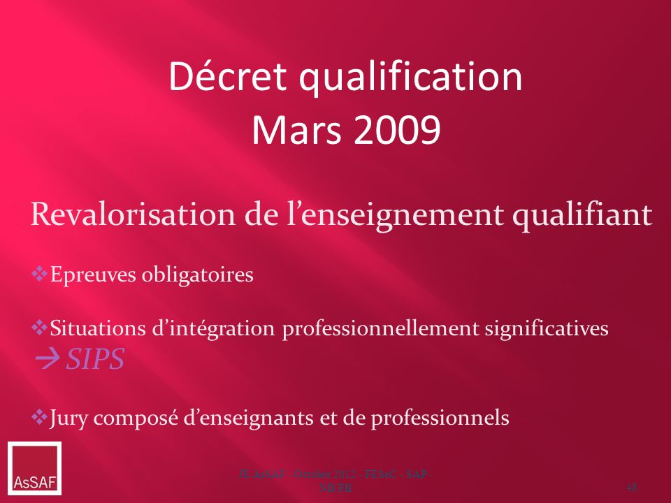 JE AsSAF - Octobre 2012 - FESeC - SAP - NB/FB48 Décret qualification Mars 2009 Revalorisation de lenseignement qualifiant Epreuves obligatoires Situat