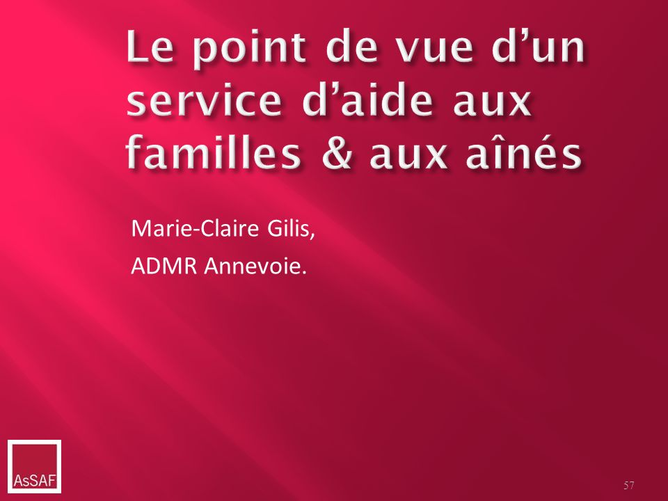 Marie-Claire Gilis, ADMR Annevoie. 57