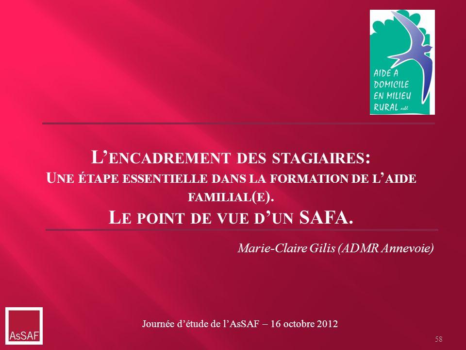 Marie-Claire Gilis (ADMR Annevoie) L ENCADREMENT DES STAGIAIRES : U NE ÉTAPE ESSENTIELLE DANS LA FORMATION DE L AIDE FAMILIAL ( E ). L E POINT DE VUE