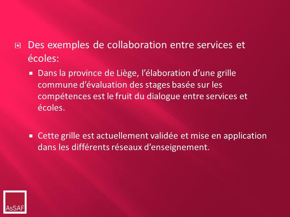 Des exemples de collaboration entre services et écoles: Dans la province de Liège, lélaboration dune grille commune dévaluation des stages basée sur l