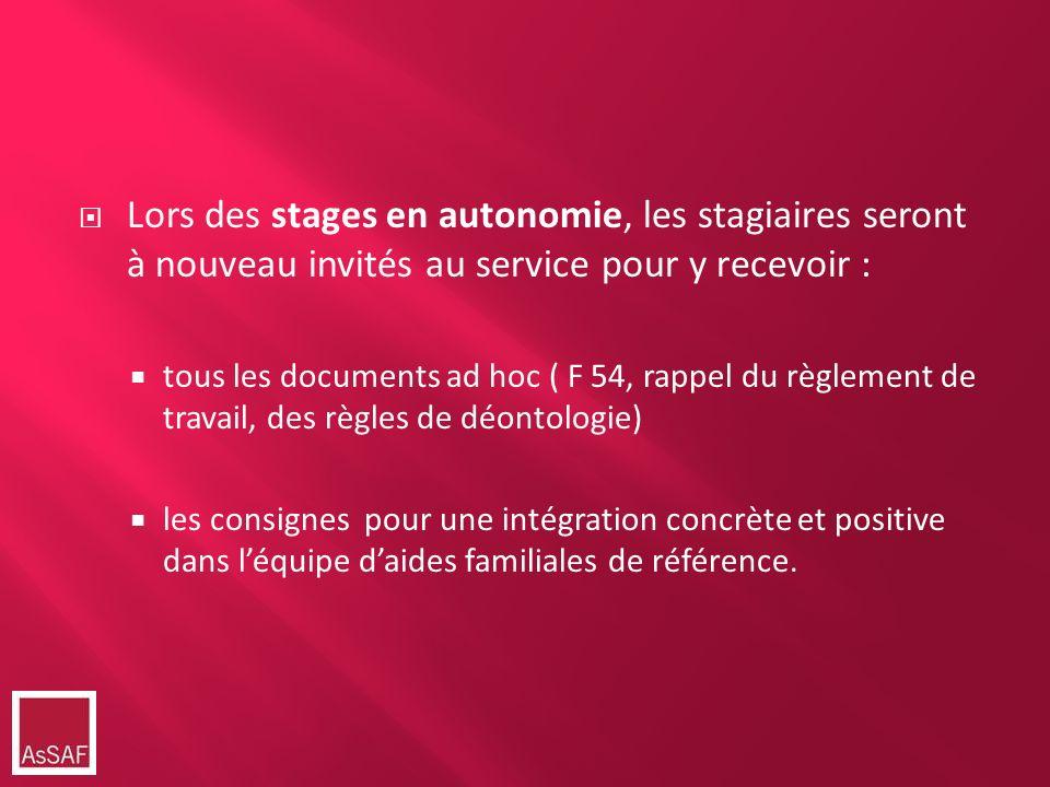 Lors des stages en autonomie, les stagiaires seront à nouveau invités au service pour y recevoir : tous les documents ad hoc ( F 54, rappel du règleme