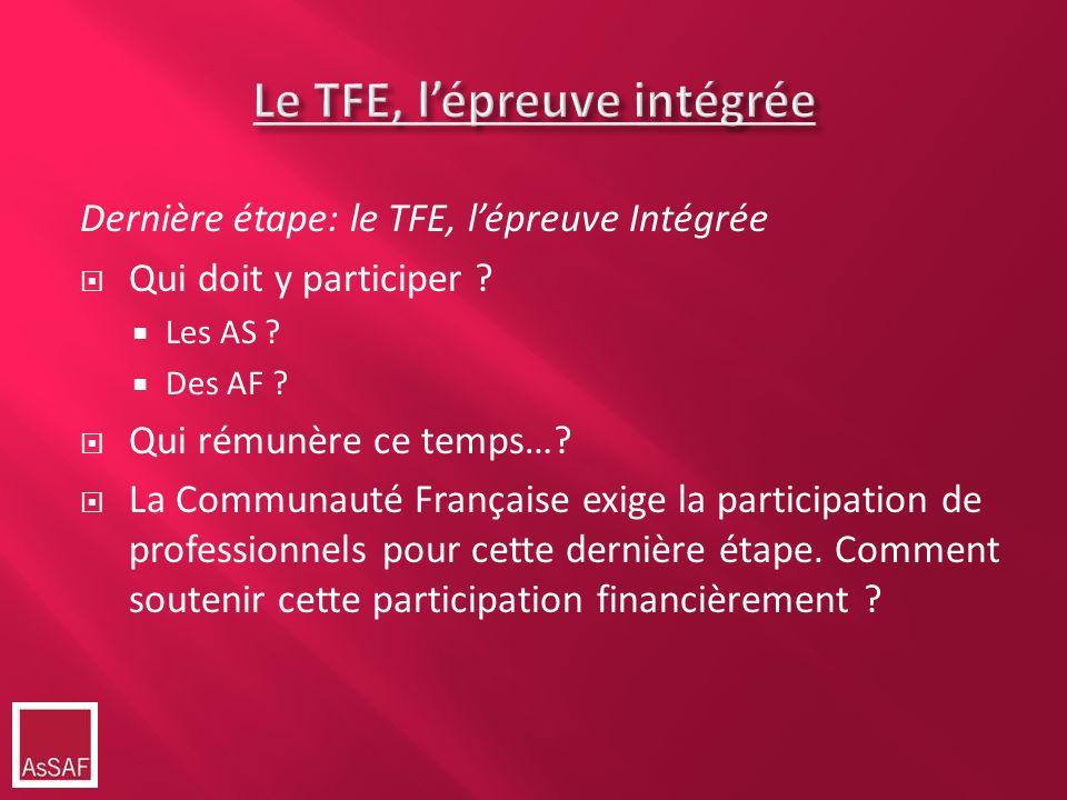 Dernière étape: le TFE, lépreuve Intégrée Qui doit y participer ? Les AS ? Des AF ? Qui rémunère ce temps…? La Communauté Française exige la participa