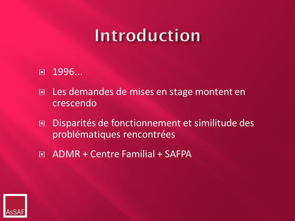 Introduction 1996... Les demandes de mises en stage montent en crescendo Disparités de fonctionnement et similitude des problématiques rencontrées ADM