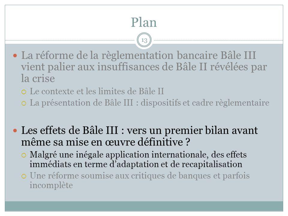 Plan 13 La réforme de la règlementation bancaire Bâle III vient palier aux insuffisances de Bâle II révélées par la crise Le contexte et les limites d