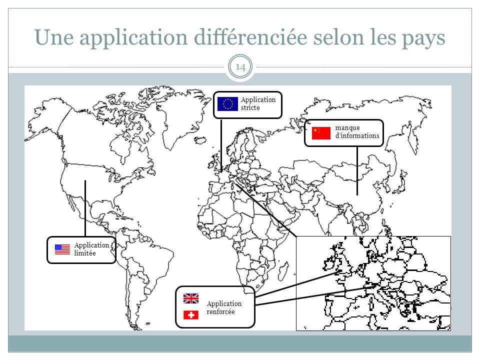 Une application différenciée selon les pays 14 Application limitée Application stricte manque dinformations Application renforcée