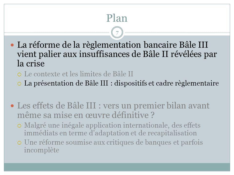 Bâle III, fruit dune intense et longue concertation internationale 8 Bâle III succède à la poursuite des réformes de Bâle II, qui entreront en vigueur fin 2010 La réforme du dispositif règlementaire sinscrit dans la durée