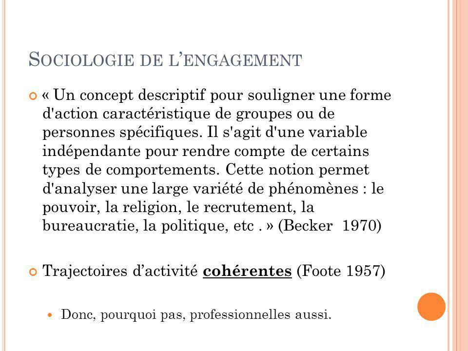 S OCIOLOGIE DE L ENGAGEMENT « Un concept descriptif pour souligner une forme d'action caractéristique de groupes ou de personnes spécifiques. Il s'agi
