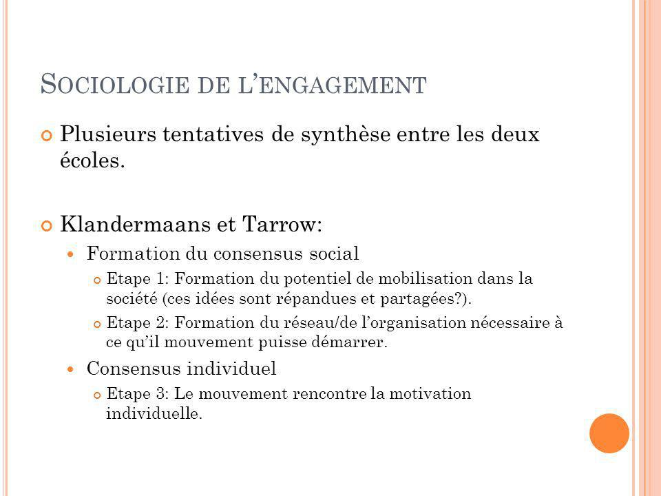 S OCIOLOGIE DE L ENGAGEMENT Plusieurs tentatives de synthèse entre les deux écoles. Klandermaans et Tarrow: Formation du consensus social Etape 1: For