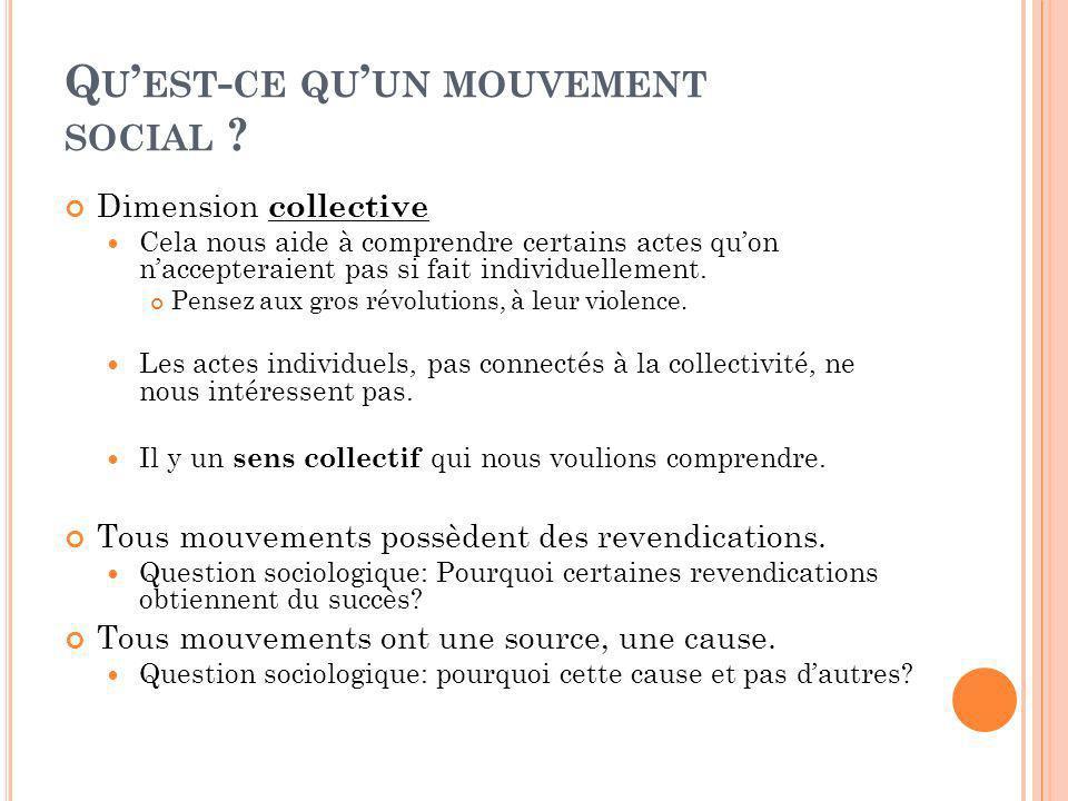 Q U EST - CE QU UN MOUVEMENT SOCIAL ? Dimension collective Cela nous aide à comprendre certains actes quon naccepteraient pas si fait individuellement