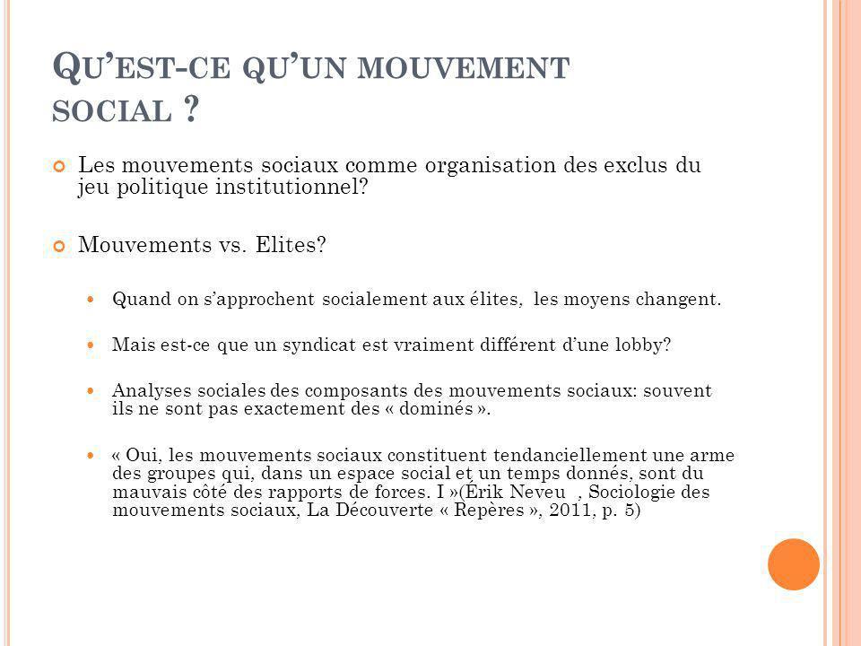 Q U EST - CE QU UN MOUVEMENT SOCIAL ? Les mouvements sociaux comme organisation des exclus du jeu politique institutionnel? Mouvements vs. Elites? Qua