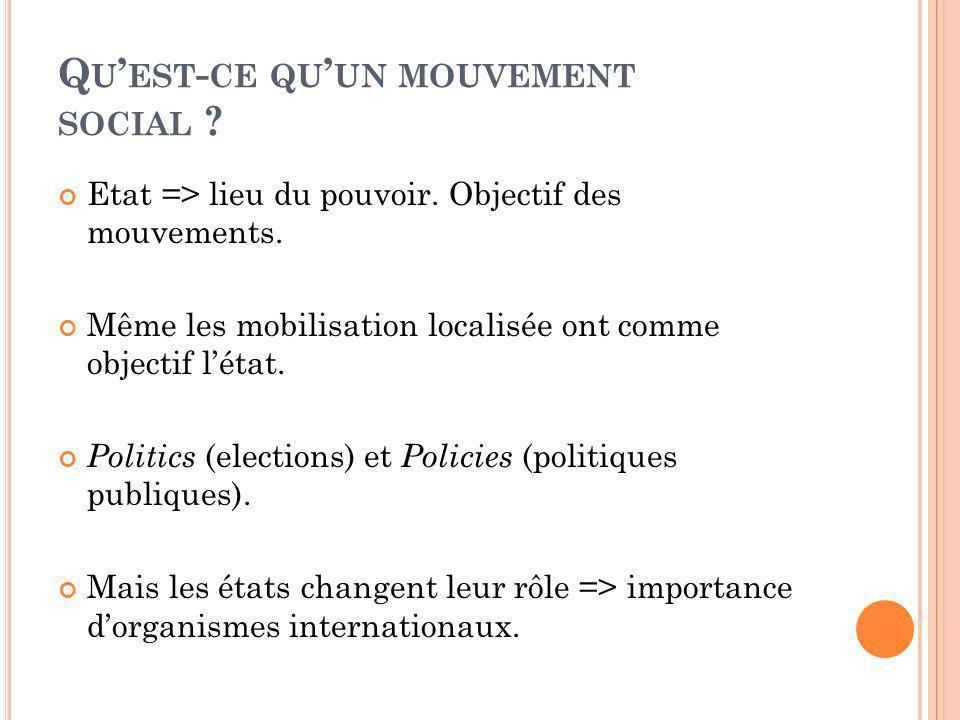 Q U EST - CE QU UN MOUVEMENT SOCIAL ? Etat => lieu du pouvoir. Objectif des mouvements. Même les mobilisation localisée ont comme objectif létat. Poli
