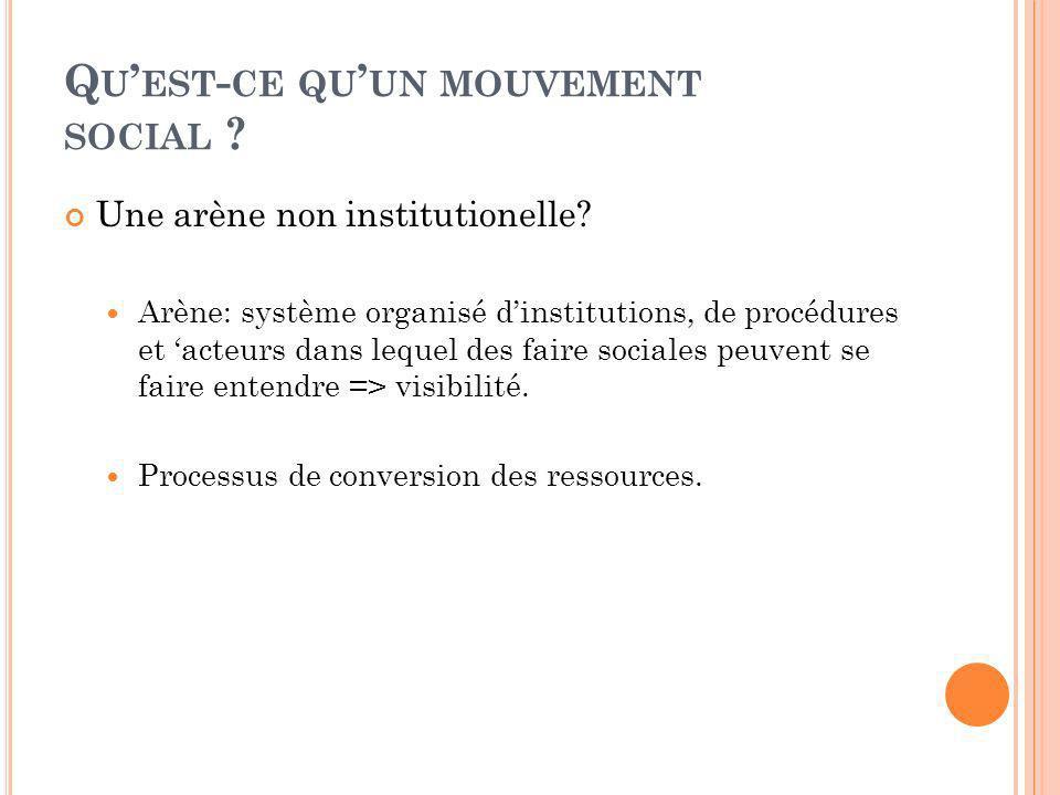 Q U EST - CE QU UN MOUVEMENT SOCIAL ? Une arène non institutionelle? Arène: système organisé dinstitutions, de procédures et acteurs dans lequel des f
