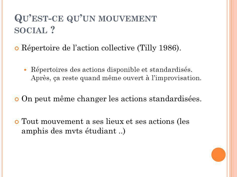 Q U EST - CE QU UN MOUVEMENT SOCIAL ? Répertoire de laction collective (Tilly 1986). Répertoires des actions disponible et standardisés. Après, ça res