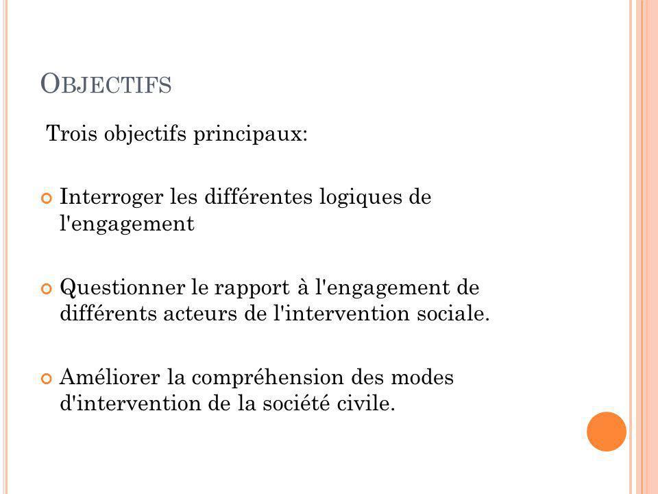 O BJECTIFS Trois objectifs principaux: Interroger les différentes logiques de l'engagement Questionner le rapport à l'engagement de différents acteurs