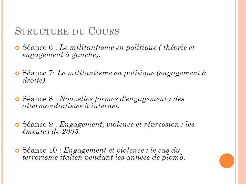 S TRUCTURE DU C OURS Séance 6 : Le militantisme en politique ( théorie et engagement à gauche). Séance 7: Le militantisme en politique (engagement à d