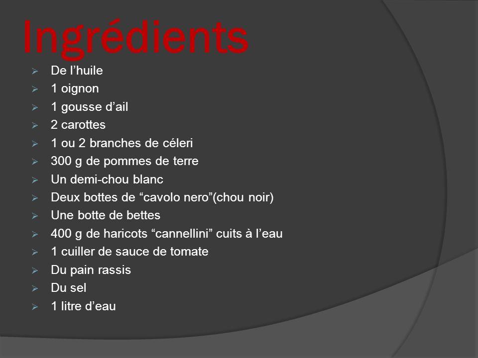 Ingrédients De lhuile 1 oignon 1 gousse dail 2 carottes 1 ou 2 branches de céleri 300 g de pommes de terre Un demi-chou blanc Deux bottes de cavolo ne