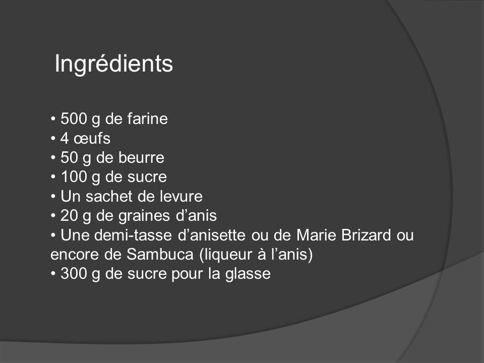 Ingrédients 500 g de farine 4 œufs 50 g de beurre 100 g de sucre Un sachet de levure 20 g de graines danis Une demi-tasse danisette ou de Marie Brizar