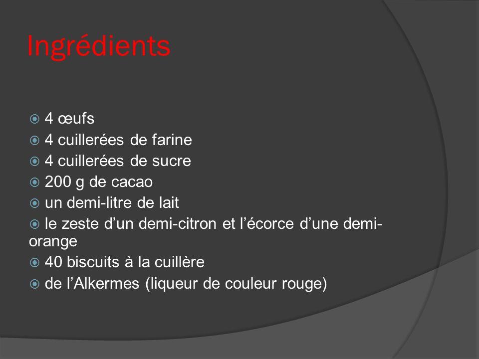 Ingrédients 4 œufs 4 cuillerées de farine 4 cuillerées de sucre 200 g de cacao un demi-litre de lait le zeste dun demi-citron et lécorce dune demi- or